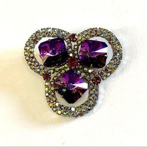 Vtg Purple & Aurora Borealis Rhinestone Brooch